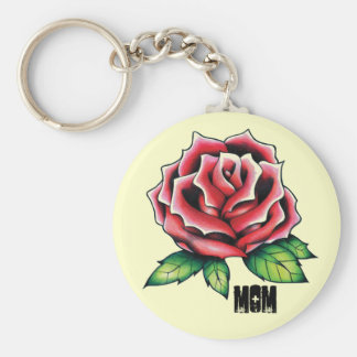 Rose, MOM Basic Round Button Keychain