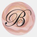 Rose monogram B Round Stickers