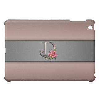 Rose Monogram Letter D Designer  iPad Mini Cover