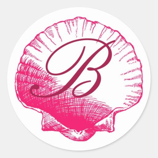 Rose Monogrammed Sea Shell Sticker