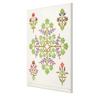 Rose motif wallpaper design, printed by M. & N. Ha Canvas Print