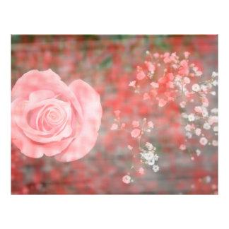rose n baby breath blotched flower design flyer