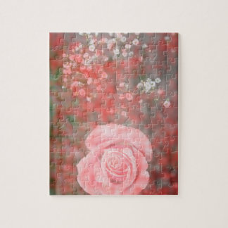 rose n baby breath blotched flower design jigsaw puzzle