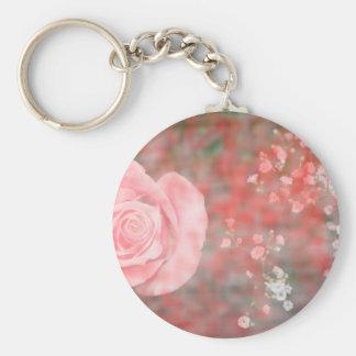 rose n baby breath blotched flower design key chains