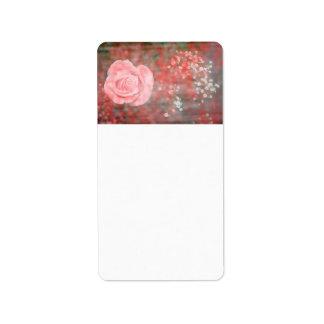 rose n baby breath blotched flower design address label
