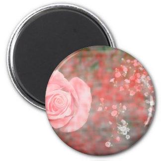 rose n baby breath blotched flower design fridge magnet