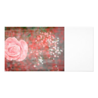 rose n baby breath blotched flower design customized photo card