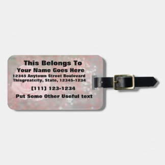rose n baby breath blotched flower design tag for luggage