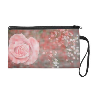 rose n baby breath blotched flower design wristlet purse