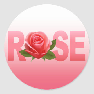Rose Name Flower ombre pink Round Stickers