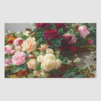 Rose of fall rectangular sticker