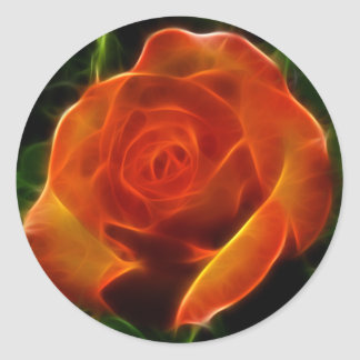 Rose of Fire Classic Round Sticker