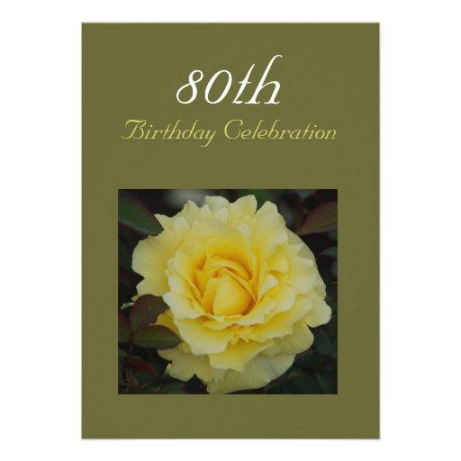 Rose of Joy Birthday Celebration Dark Olive Personalized Invite
