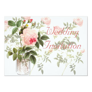 Rose of Orleans on White Wedding Invitation Card