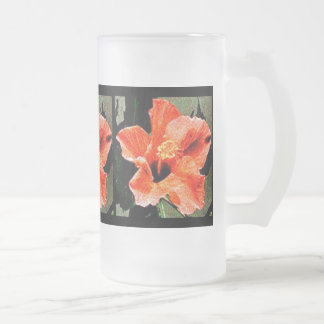 Rose of Sharon Hibiscus 16 Oz Frosted Glass Beer Mug