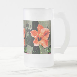 Rose of Sharon Hibiscus. 16 Oz Frosted Glass Beer Mug