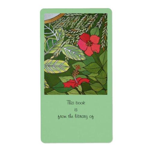 Rose of Sharon Jungle book plate Custom Shipping Label