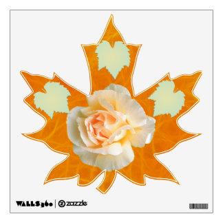 Rose on Flame Maple Leaf Wall Skin