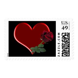 Rose On Heart 1Med Postage Stamp