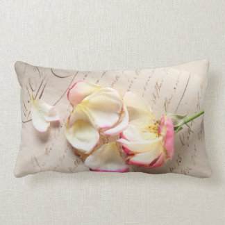 rose on old copybook page lumbar pillow