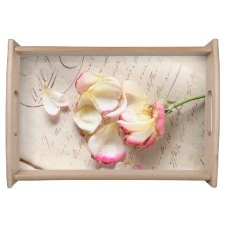 Rose on old copybook page serving tray