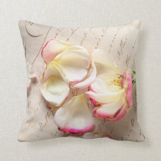 rose on old copybook page throw pillow