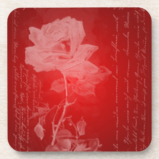 Rose on Red Valentine Coaster