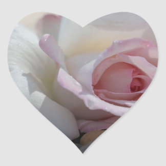 Rose on River Rocks Heart Sticker