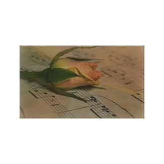 Rose on Sheet Music Stretched Canvas Print