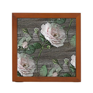 Rose on Weathered Wood Desk Organizers