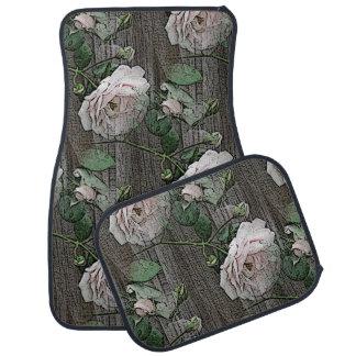 Rose on Weathered Wood Floor Mat