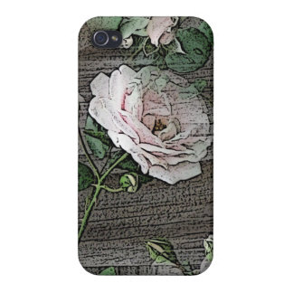 Rose on Weathered Wood iPhone 4 Covers