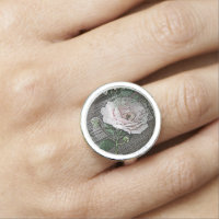 Rose on Weathered Wood Ring