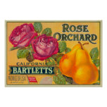 Rose Orchard Pear Crate Label Poster