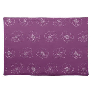Rose Outline Pattern on editable background colour Cloth Placemat