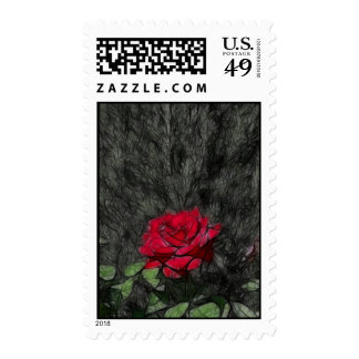 Rose Over Black Abstract Postage