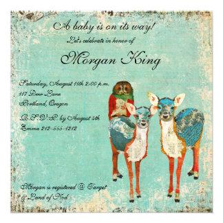 Rose Owl Azure Deer Baby Shower Invitation