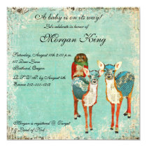 Rose Owl & Azure Deer Baby Shower Invitation