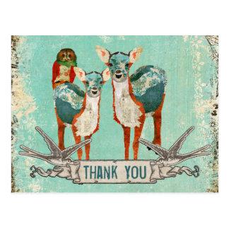 Rose Owl & Azure Deer Thank You   Postcard