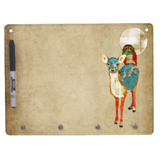 Rose Owl & Azure Fawn Full Moon Dry Erase Board