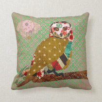 Rose Owl Boho Damask Mojo Pillow