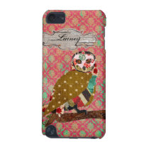 Rose Owl Damask Name Plate iPod Case