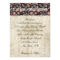 Rose Owl Floral White & Brown Wedding Invitation