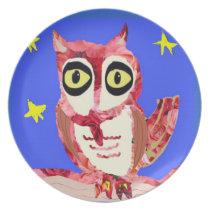 Rose Owl Melamine Plate