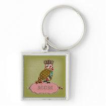Rose Owl Mom's Keychain