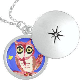 Rose Owl Round Locket Necklace