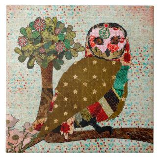 Rose Owl Vintage Tile