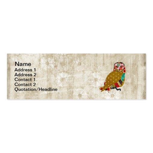 Rose Owl Whitewash Floral Vintage Business Cards