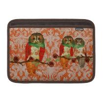 Rose Owls Amber Damask Macbook Sleeve