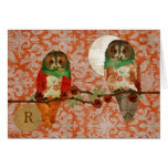 Rose Owls Amber Damask Monogram Notecard